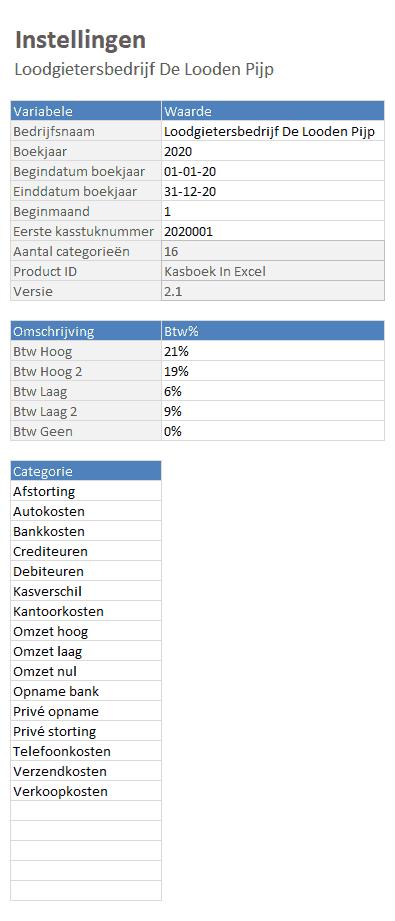 Instellingen Kasboek in Excel