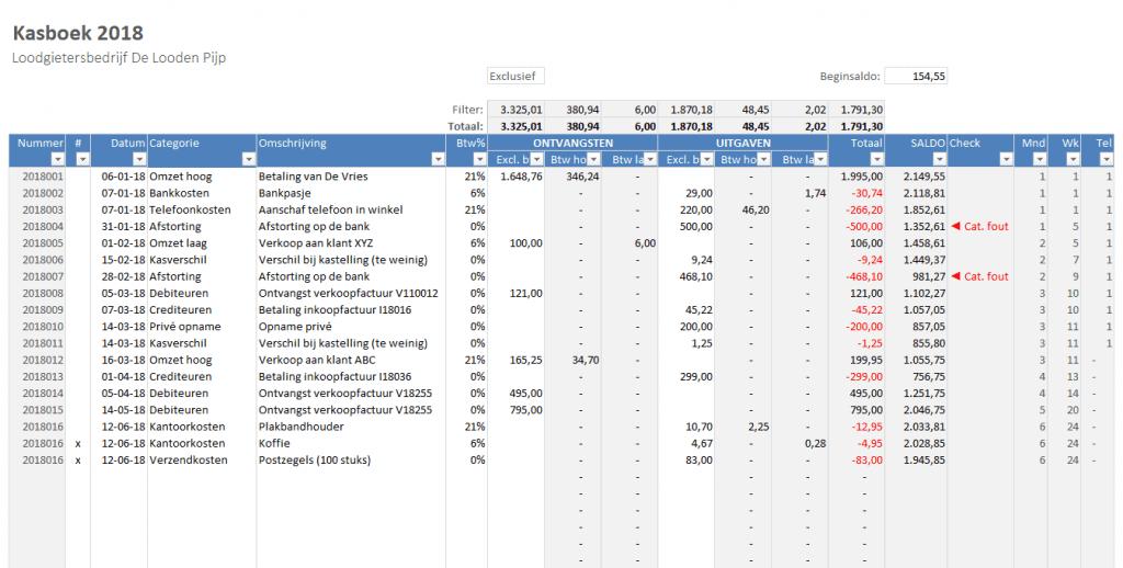 Kasboek in Excel - transacties vastleggen