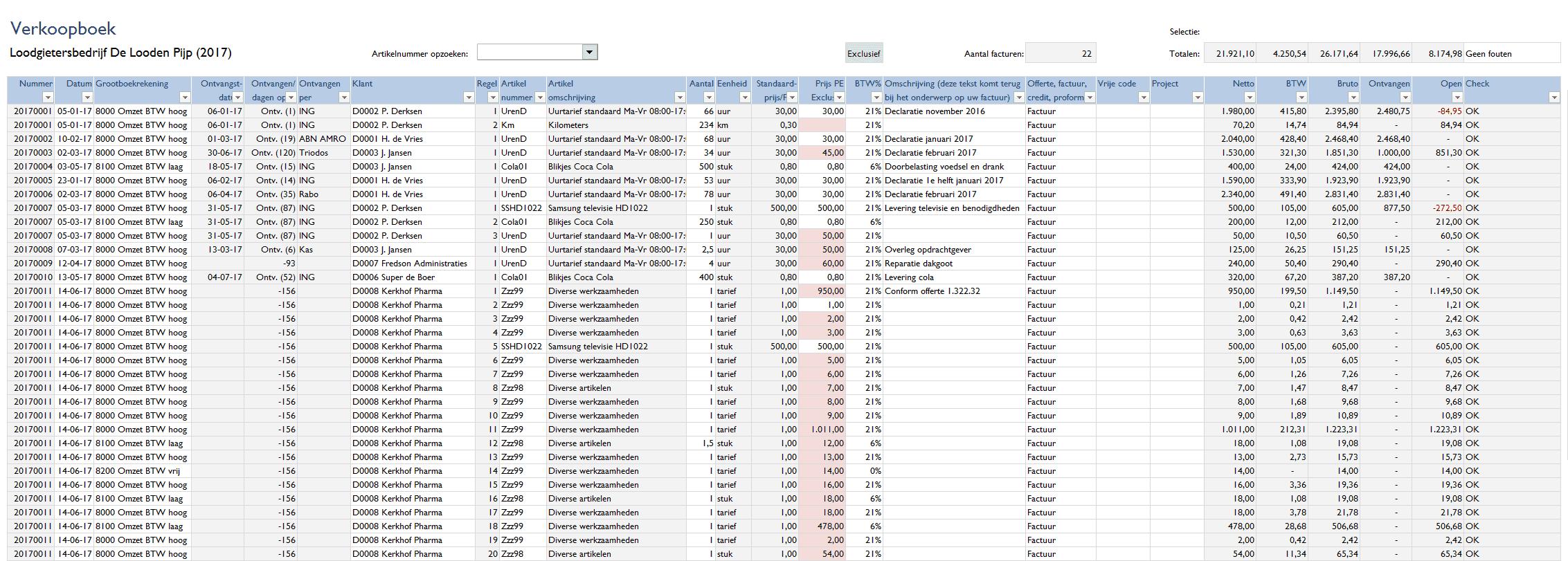 Verkoopboek Boehouden in Excel 4.0