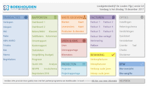 Boekhouden in Excel 5.0 Menu