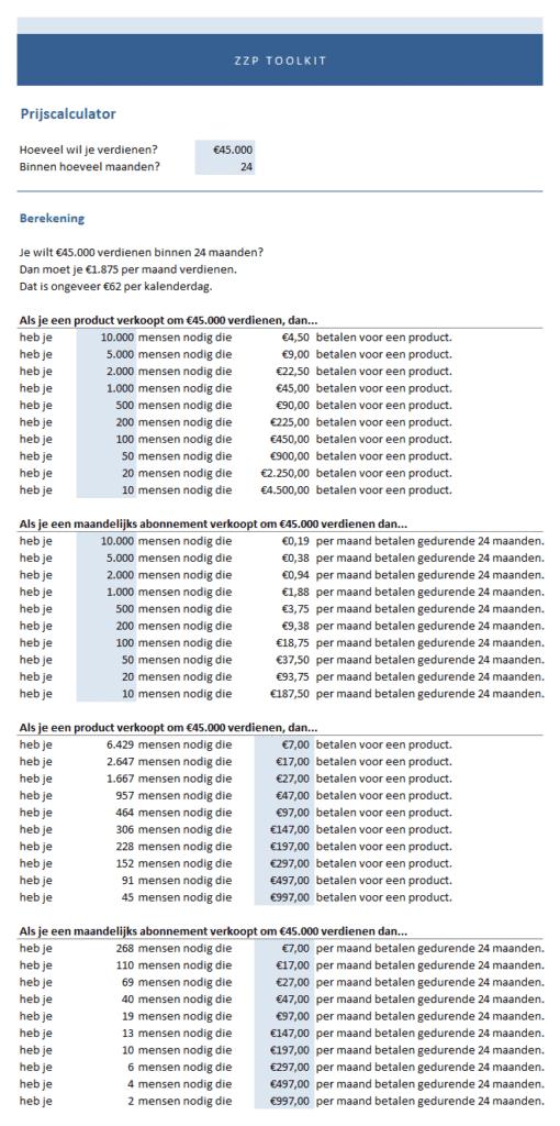 prijscalculator voorbeeld