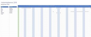 Verlofkaart in Excel Vakantieplanner