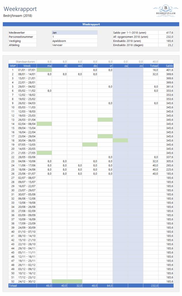 Verlofkaart in Excel Weekrapport
