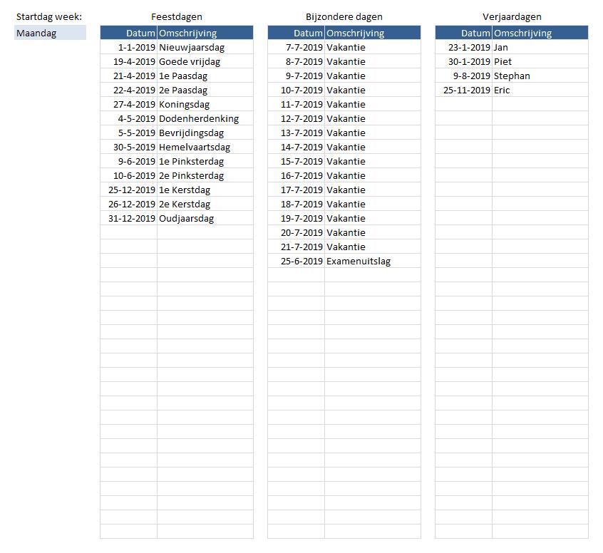 jaarkalender op 1 pagina instellingen