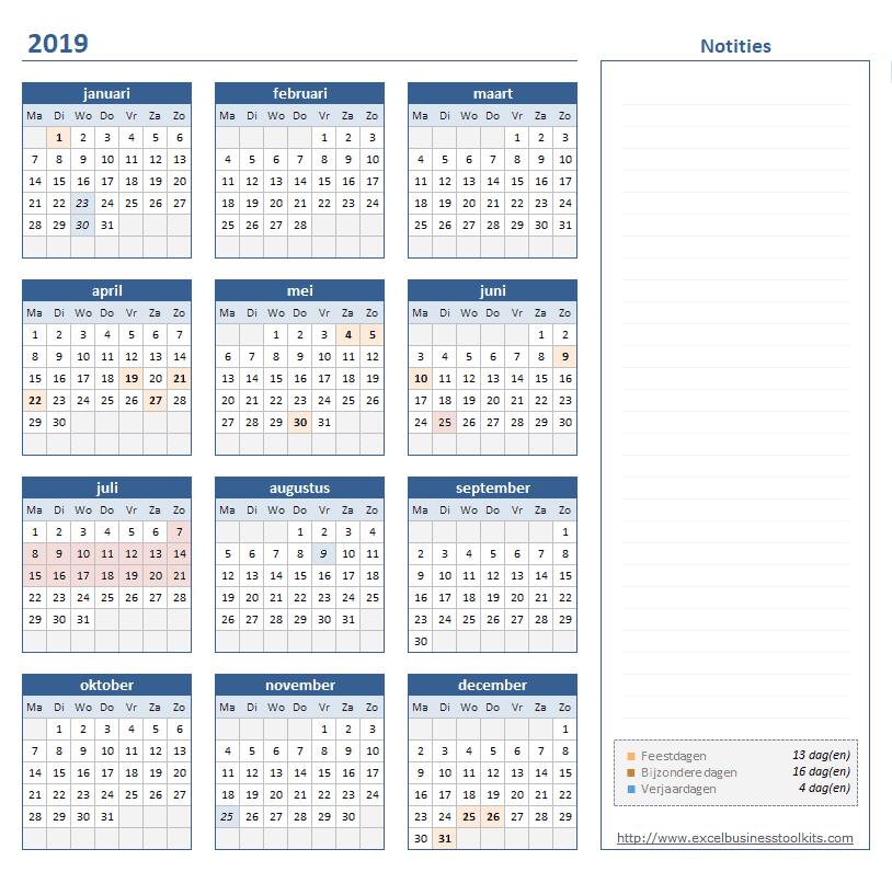 jaarkalender op 1 pagina - week begint op maandag
