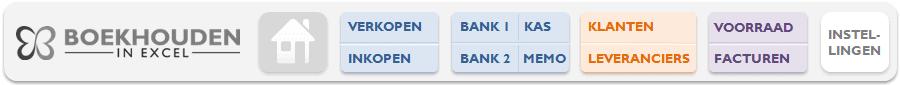 Update Boekhouden in Excel - nieuwe top menu
