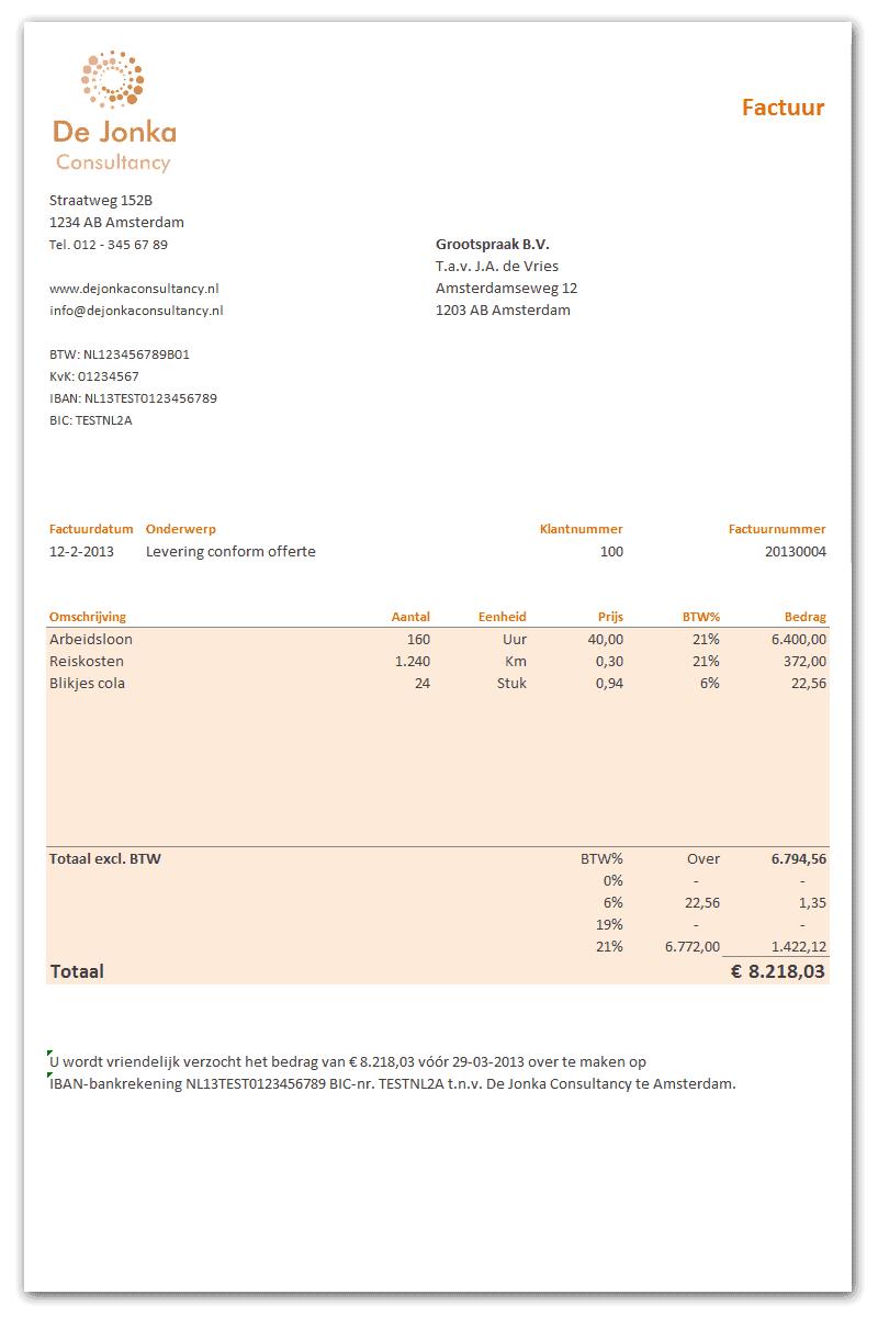 Excel Factuur Sjabloon Gratis Boekhouden In Excel