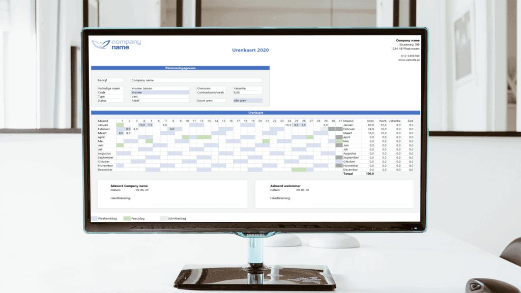 Excel urenregistratie