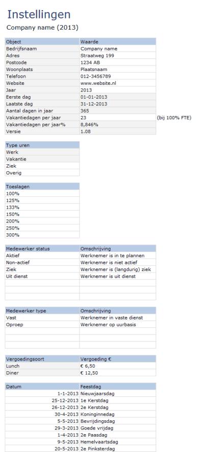 Instellingen Urenregistratie in Excel
