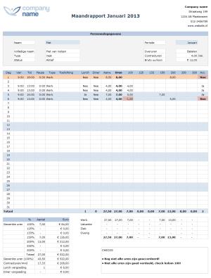 Maandrapport Urenregistratie in Excel