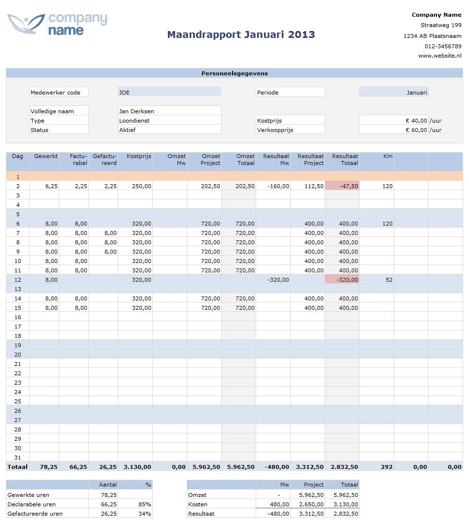 Maandrapport urenregistratie in Excel voor projecten
