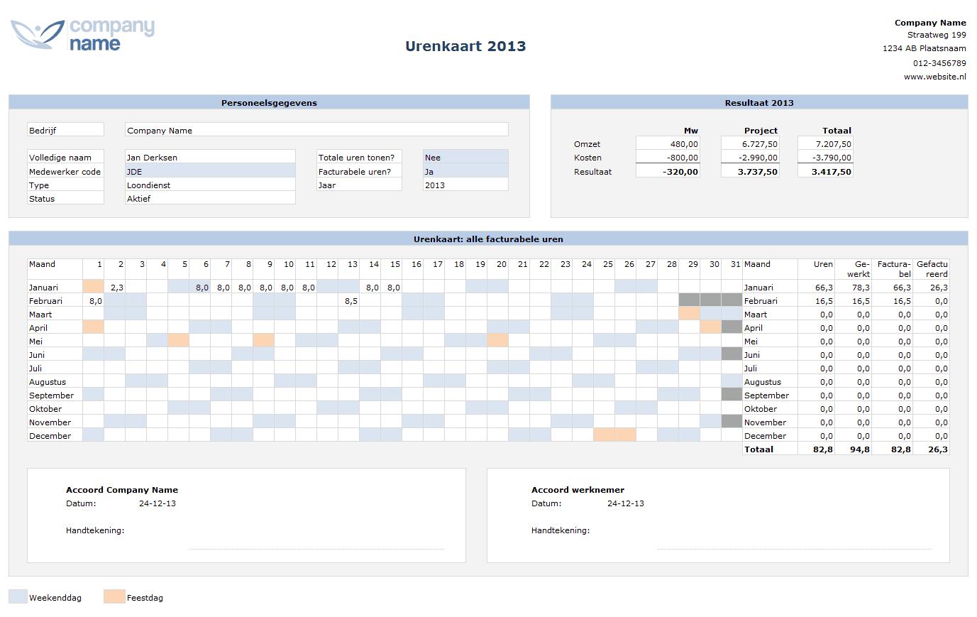 Urenkaart urenregistratie voor projecten in Excel