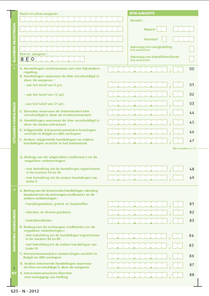 BTW aangifte formulier België