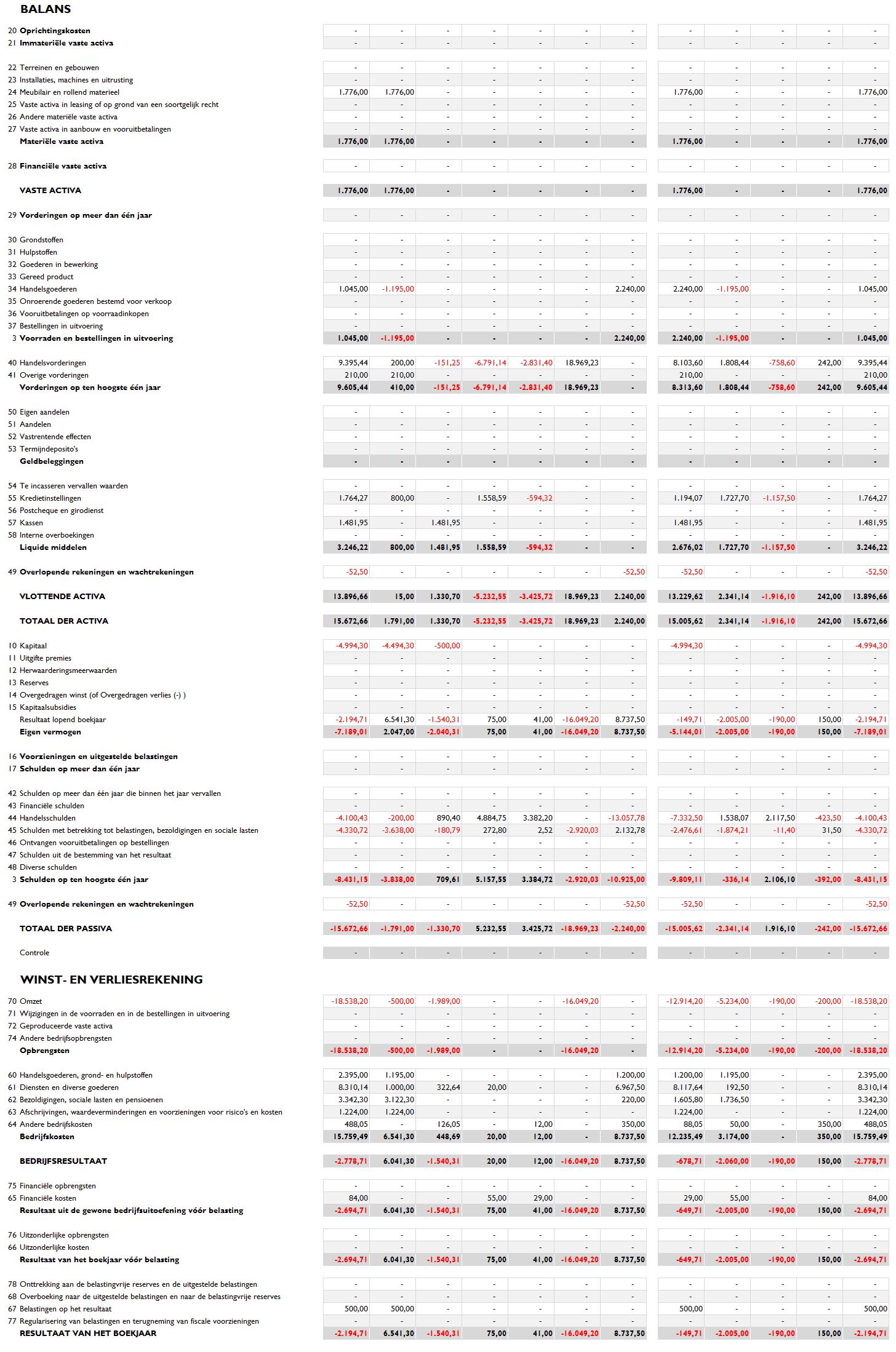 Balans en resultatenrekening België