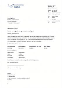 Voorbeeldbrief verzoek tot BTW teruggaaf vanwege oninbare vorderingen