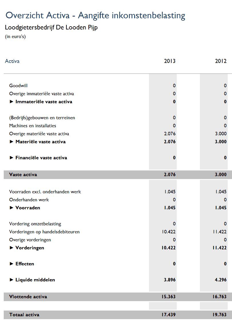 Activa conform aangifte inkomstenbelasting