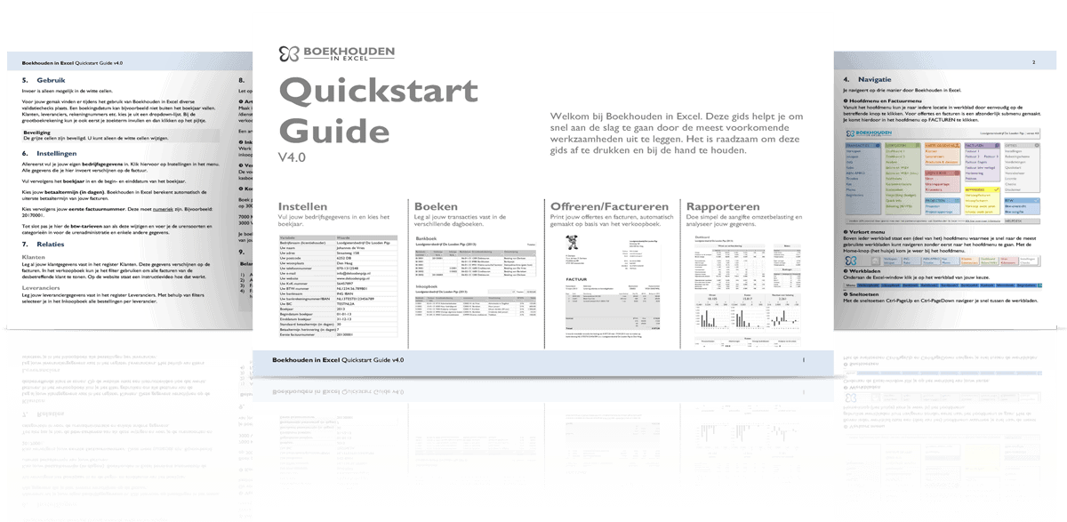 Quickstart Guide Boekhouden in Excel 4.0