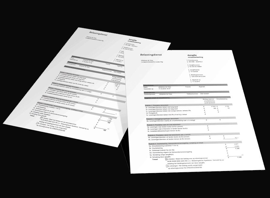 BTW-aangifteformulier belastingdienst opgetild