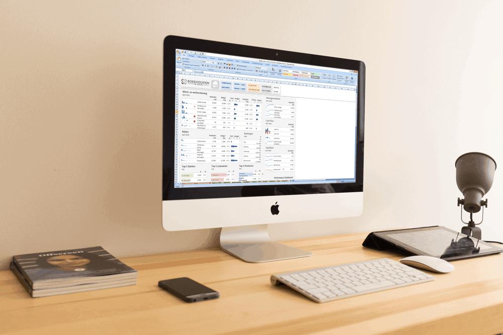 Boekhouden in Excel dashboard op een iMac