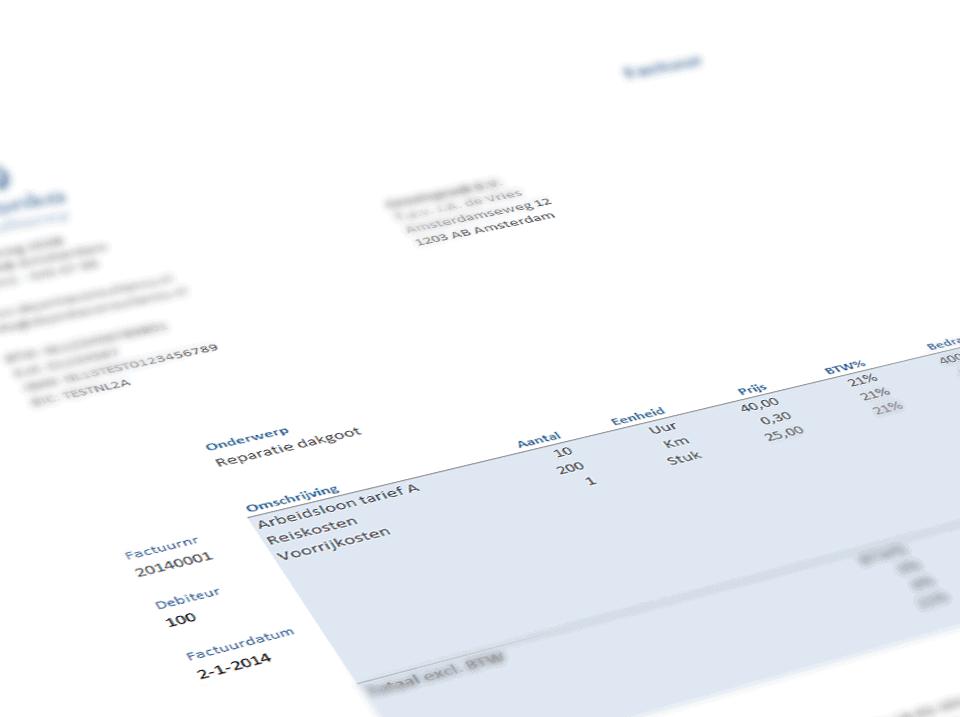 Excel factuur zoom