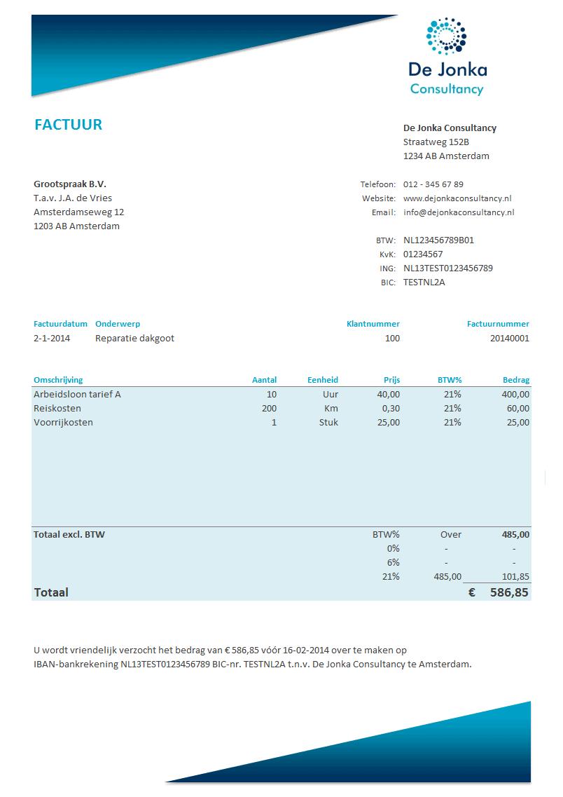 Facturen in Excel Premium Edition met factuurhistorie