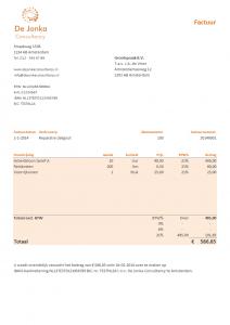 Excel factuur ontwerp 6