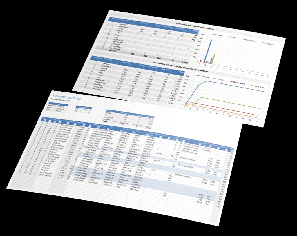 Rittenadministratie in Excel