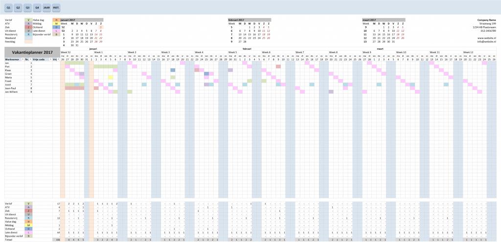 Vakantieplanner met 10 codes en kleuren