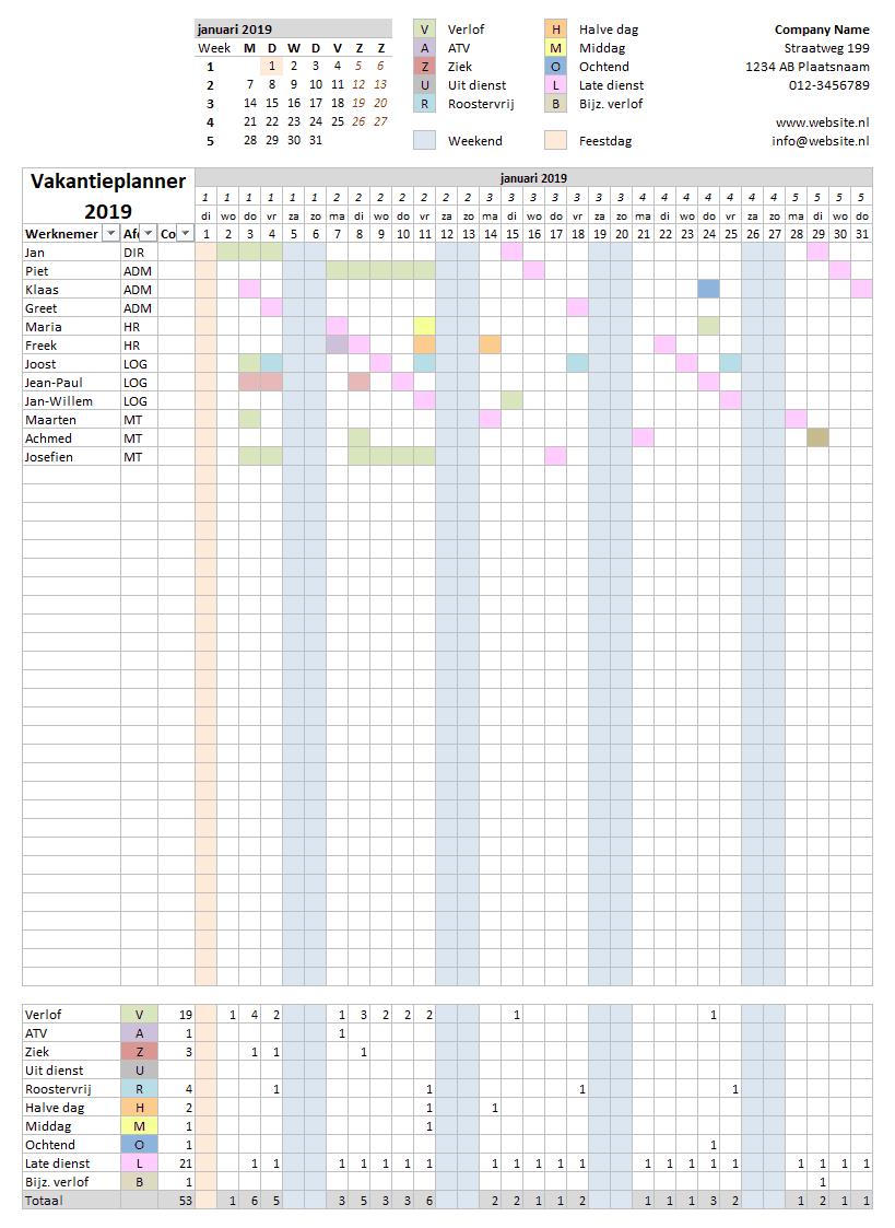 Vakantieplanner per maand