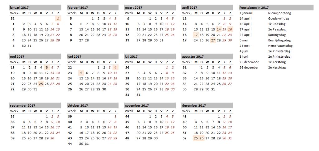 Kalender overzicht