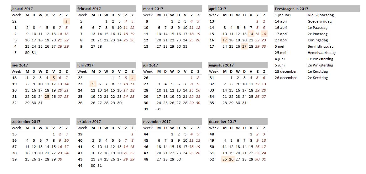 Vakantieplanner Kalender overzicht