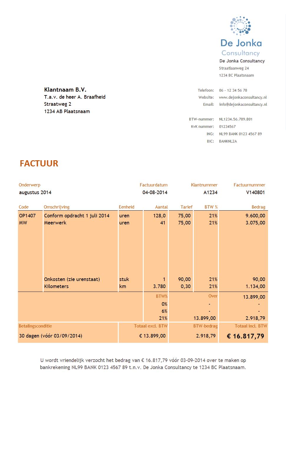 Urenstaat en Factuur voor Consultants   Boekhouden in Excel
