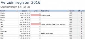 Ziekteverzuim in Excel - Verzuimregister
