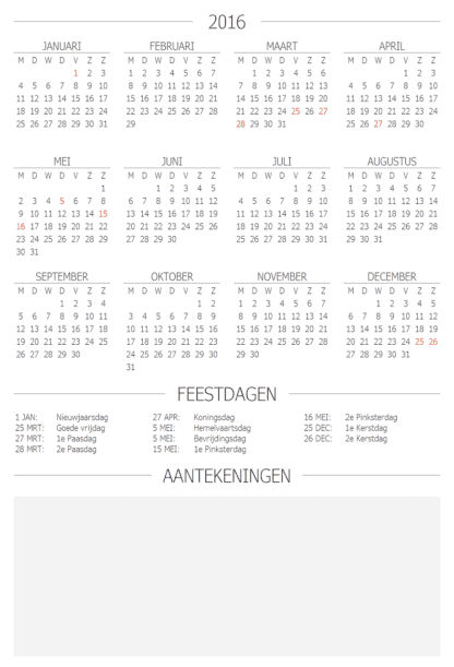 business planner jaarkalender