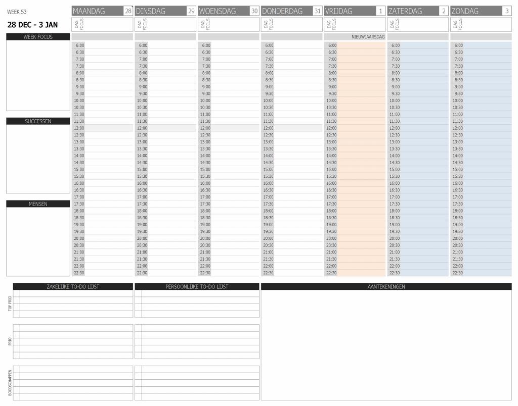business planner weekindeling