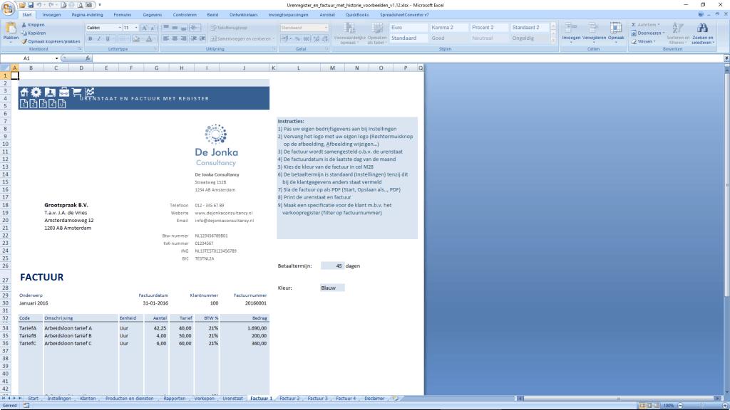 Urenstaat in Excel - factuur voorbeeld