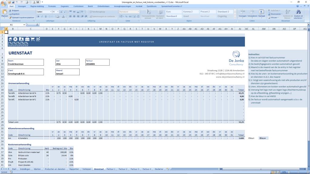 Urenstaat in Excel - urenstaat