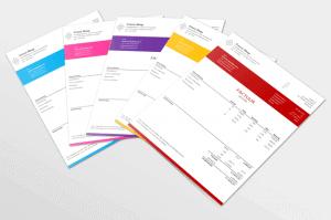 Zakelijke excel factuur in 10 verschillende kleuren
