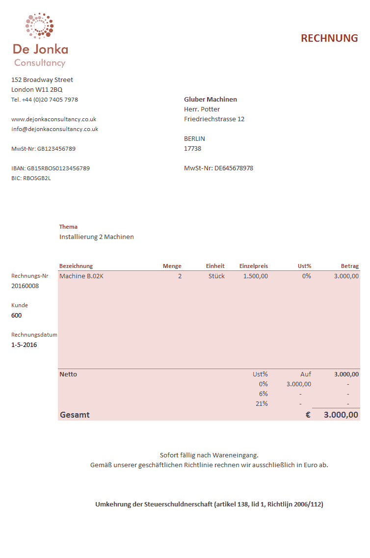 factuur duits voorbeeld   Boekhouden in Excel