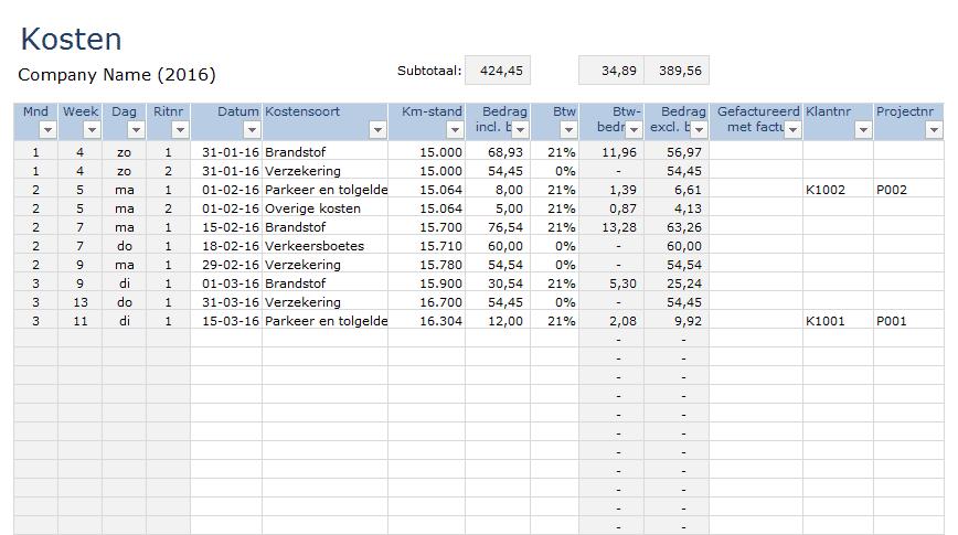 Kilometerregistratie In Excel Premium Boekhouden In Excel