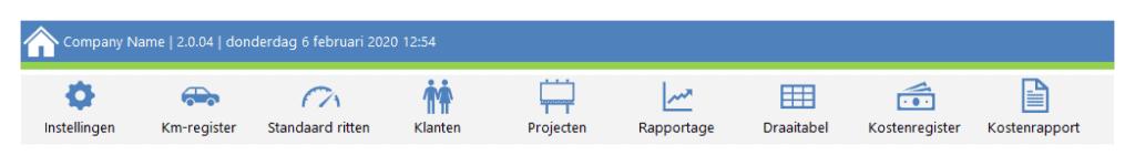 Kilometerregistratie in Excel Premium Topmenu