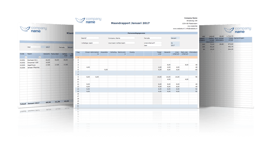 Rapportages Urenregistratie in Excel Premium Edition