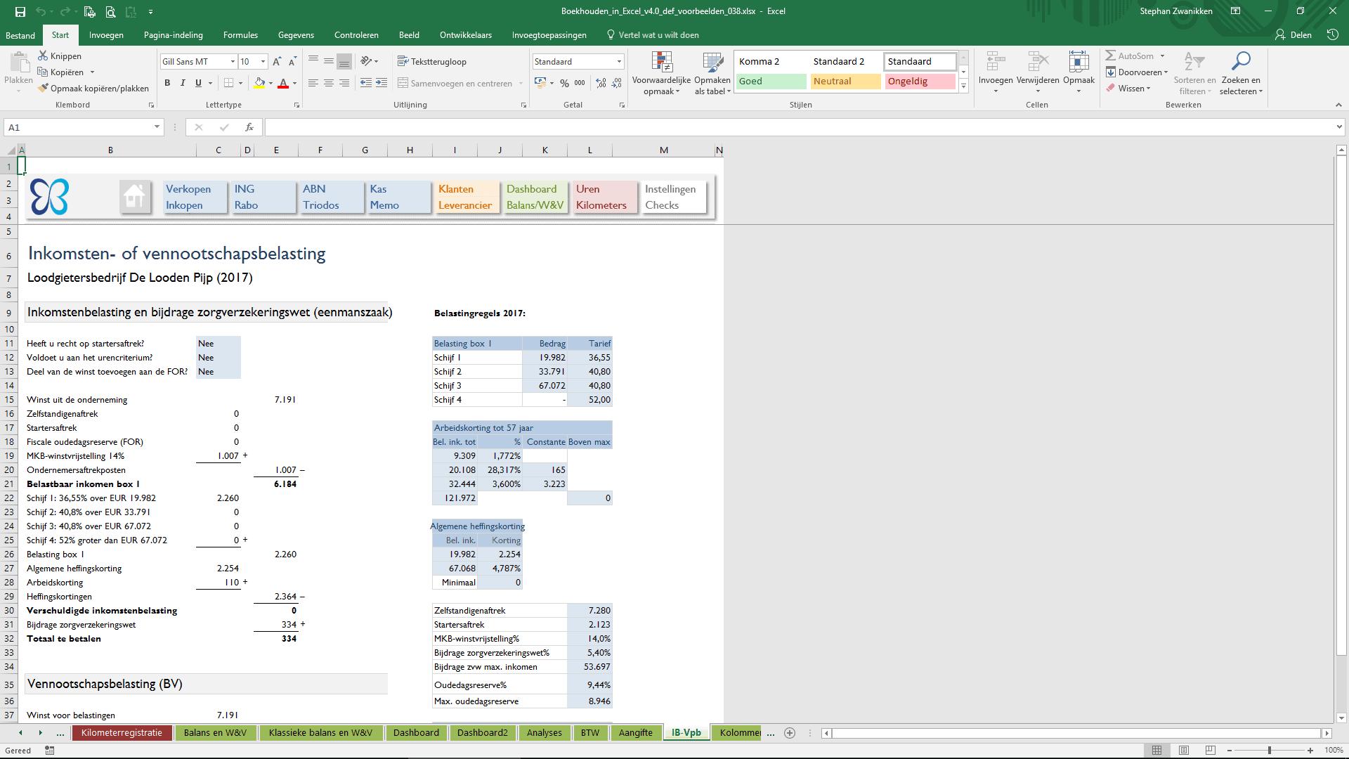 Belasting Boekhouden In Excel