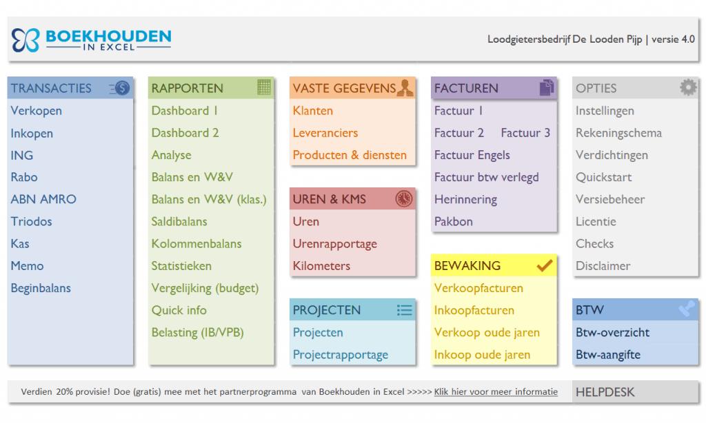 Boekhouden in Excel 4.0 menu