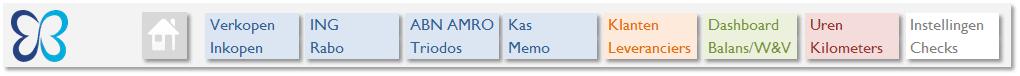Boekhouden in Excel 4.0 - topmenu