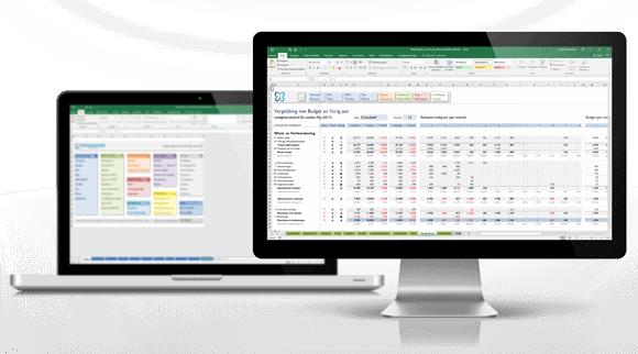 Boekhouden in Excel schermvoorbeelden
