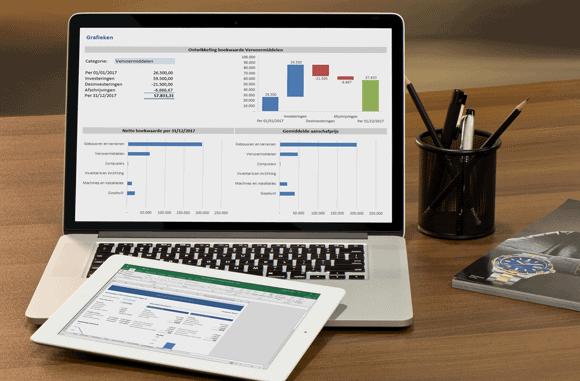 Vaste activa register in Excel op computer of tablet