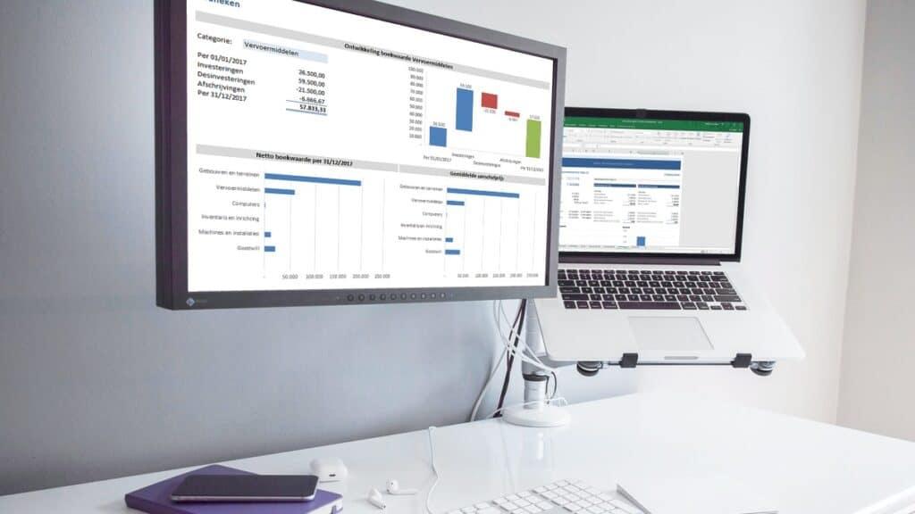 Vaste activa register in Excel op computer, laptop of tablet