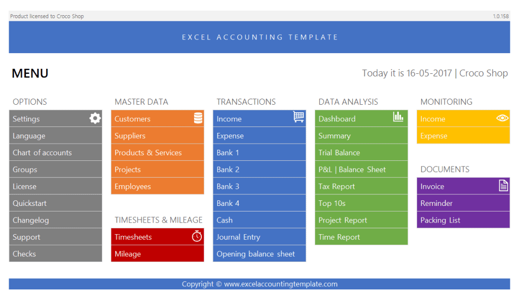 Excel accounting template menu
