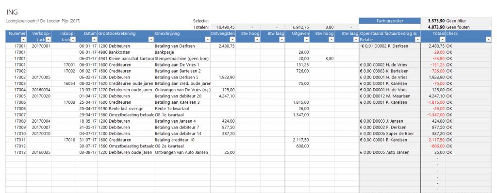 Bankboek - Boekhouden in Excel 5.0